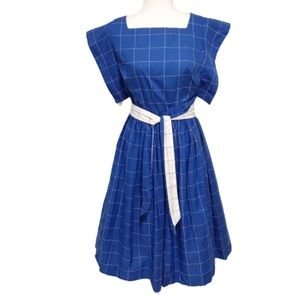 Vintage window pane checkered square neck dress